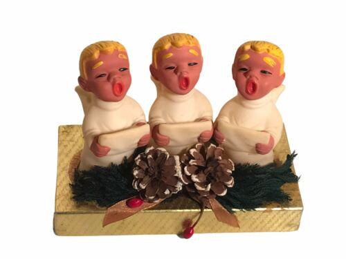 Vintage Christmas Decor Display Rubber Choir Boys Handmade Craft Mid Century MCM
