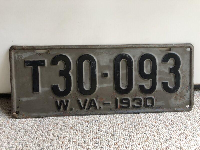 Vintage 1930 West Virginia License Plate