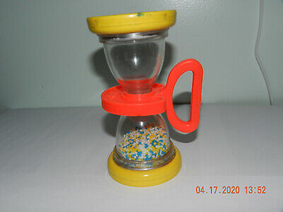 Vintage 1970's Fisher Price 451 Shake N' Roll Hourglass Mirror Rattle Baby Toy