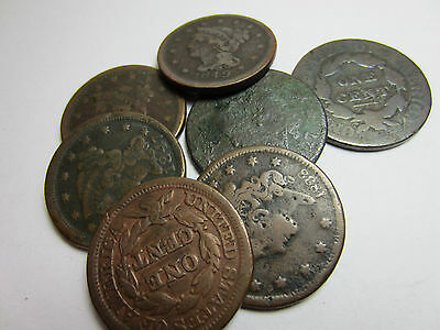 (1) 1800's Large Cent // Cull/AG - Good //  Bust - Classic - Coronet - Braided