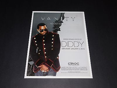 """P Diddy Sean 'Puff Daddy"""" Combs 2010 Concert @ Hard Rock Vegas Promo Poster NEW"""