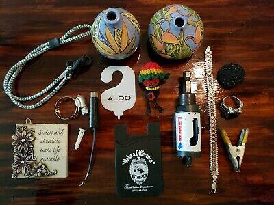 JUNK DRAWER LOT of random stuff SMALL VASES 9.25 silver JEWELRY mask leash