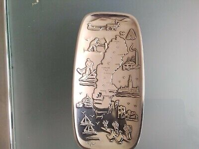 Vintage Vera Ferngren Swedish Silver Plated Pin Dish Signed. Map of Sweden