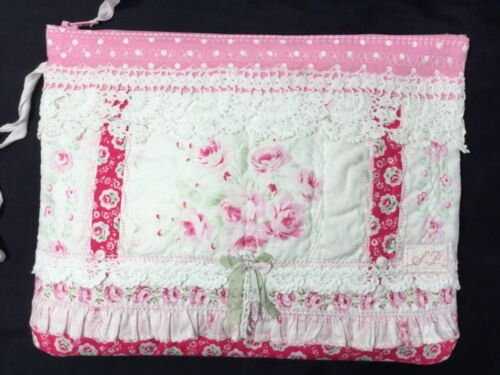 HM Zip Pouch Heavily stitched pieced Antique French Pink Rose Yuwas Vintage Lace