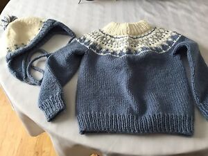 Children's Hand Knitted Sweater & Hat Set - Size 2 REDUCED PRICE