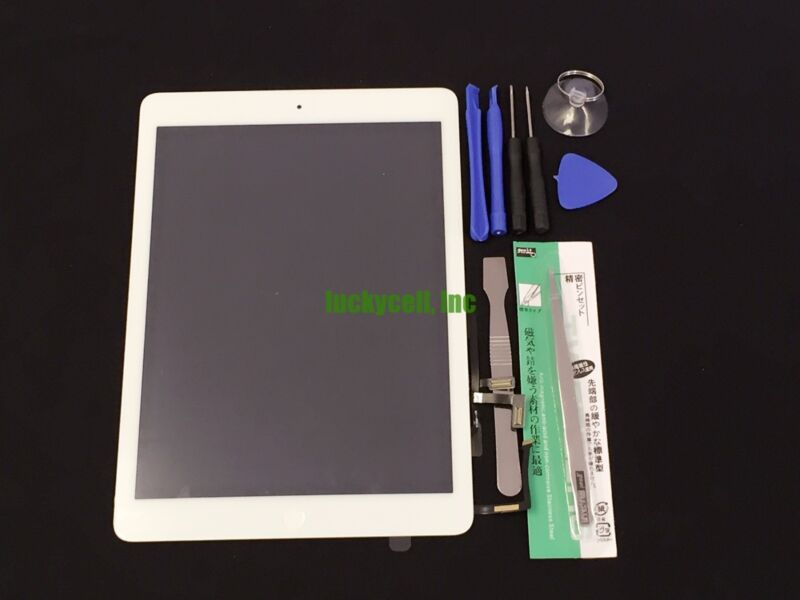 White iPad Air 1st Gen Touch Screen Glass Digitizer +Adhesive +Home Button+Tools