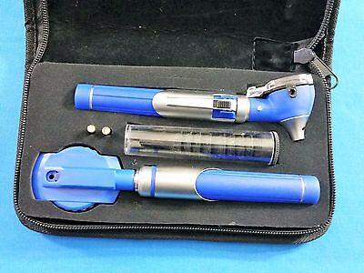 New Professional Led Fiber-optic Mini Opthalmoscope Otoscope Diagnostic Set Blue