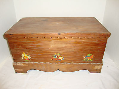 Vintage Retro Wood Doll Toy Box Nursery Baby Furniture Bench Decals
