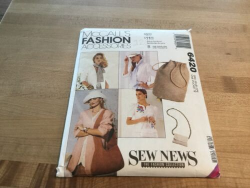 McCall's Fashion Accessories pattern 6420 hats, purses, belts, hair (new)