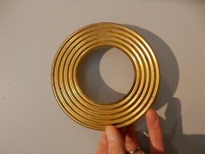 ART DECO 15 CM  RIBBED BRASS PLATED CIRCLE UPCYCLE 4 FURNITURE    lamp sconce ?