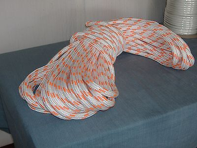 Double Braid Polyester 58x150 Feet Arborist Rigging Tree Bull Rope White Orange