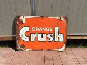 1960's orange crush sign crushy oc 27.5x20