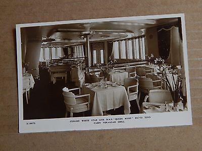 Postcard shipping Cunard White Star line Queen Mary Verandah Grill  unposted