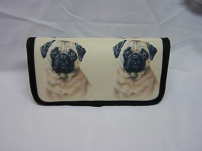 CHINESE BUG DOG FAWN COLORED  IMAGE NEOPRENE FABRIC  CHECKBOOK COVER