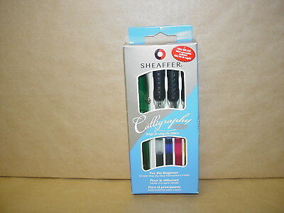 NEW GREEN SHEAFFER CLASSIC CALLIGRAPHY  FOUNTAIN PEN INK CARTRIDGES SET 3 NIBS