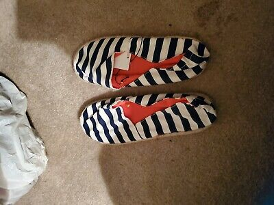 womens size 9.5  navy/cream stripe espys by H& M