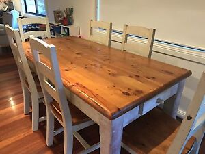 Farmhouse Dining table and six chairs Coorparoo Brisbane South East Preview