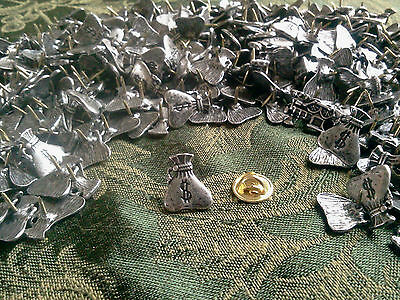 6 Piece Lot MONEY BAG PEWTER TIE TACK PINS ALL New.