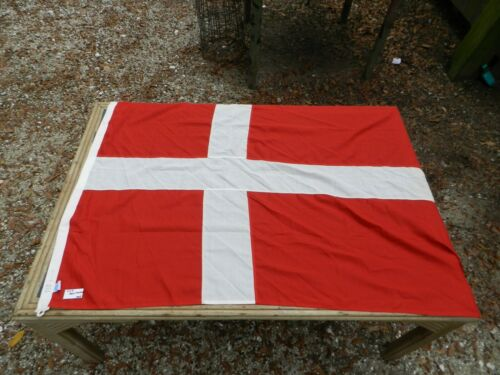 Vintage Big Ship Cloth Flag  Danmark  4 ft X 5 ft