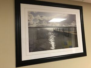 "Large Cottage Dock Framed Picture (45"" x 35"")"