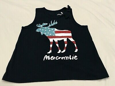 ABERCROMBIE KIDS GIRLS NAVY PATRIOTIC MOOSE TANK TOP SIZE 9/10