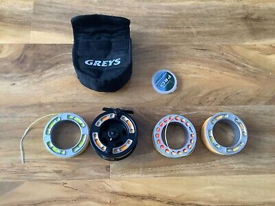 GREYS GRX i 5/6 TROUT FLY FISHING REEL WITH SPARE SPOOLS, LINE & BAG