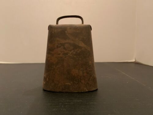 Antique Primitive Folded Riveted Metal Cow Bell 4.75 Inches