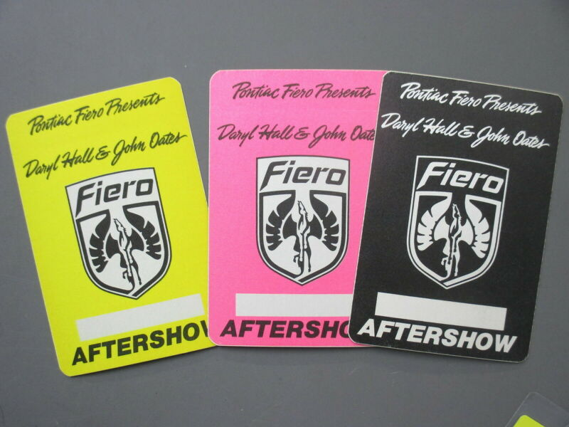 Hall & Oates backstage pass satin cloth stickers THREE Pontiac Fiero RARE !