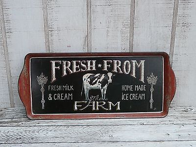 Vintage style country market cow plastic tray primitive country home decor