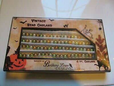 NWT Bethany Lowe Boxed Halloween Vintage Bead Garland, 6ft