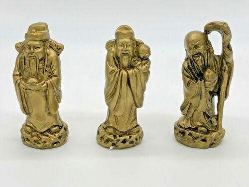 Three Wise Men Gods Deities Fuk Luk Sau Statue Figurines Good Fortune Feng Shui