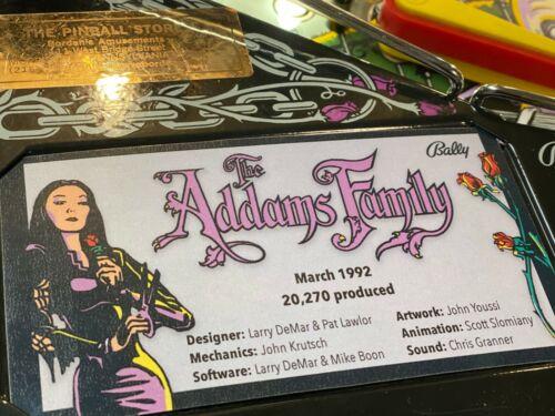 Bally Addams Family Pinball Custom Apron Cards Set Instruction Rules Information
