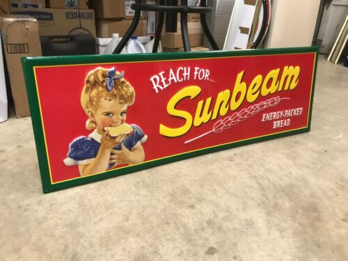 """""""SUNBEAM BREAD"""" LARGE EMBOSSED METAL ADVERTISING SIGN, (42""""x 14"""")NEAR MINT COND"""
