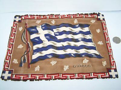 "c.1915 GREECE FLAG FLANNEL CIGARETTE PACK TOBACCO FELT ANTIQUE 11.5"" x 8.5"""