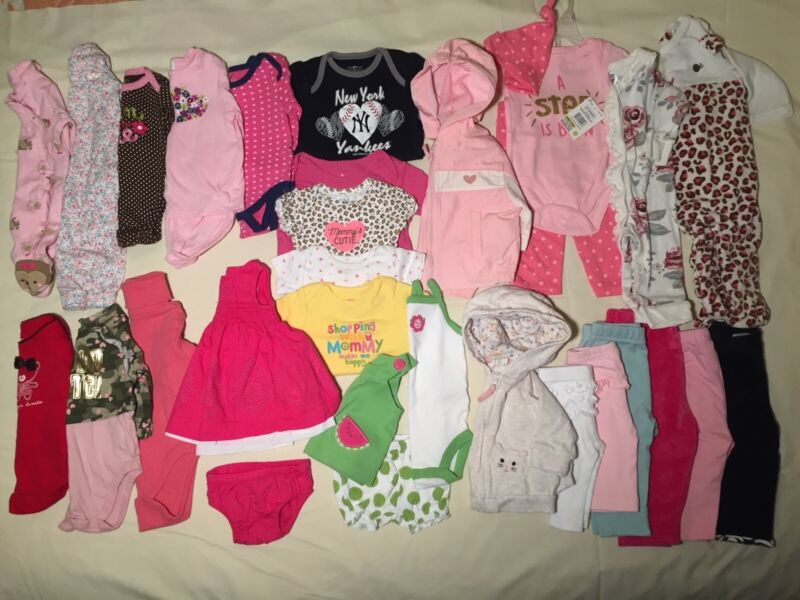 Large Lot 31 Baby Girl Infant Newborn, 0-3 M Spring Summer Clothes Outfits Sacks