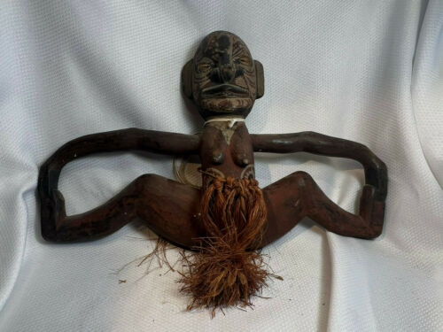 Vtg Hand Carved Painted African Tribal Fertility Hanging Statue Straw Bottoms