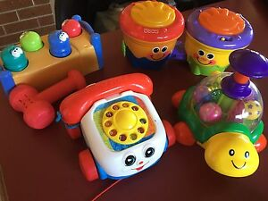 Fisher Price Phone and Drums, Playskool Hammer Set and Spin the Ball Castle Hill The Hills District Preview