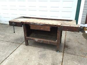 Antique Workbench Work Bench Carpenter Craftsman Ohio Tool Company Columbus