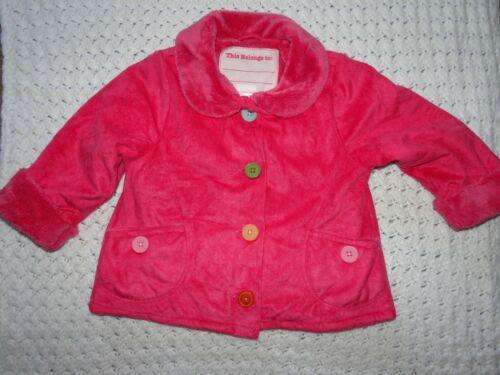 Gymboree Hot Pink Faux Suede Jacket Coat Fur lined, 2T-3T Colorful Buttons, EUC