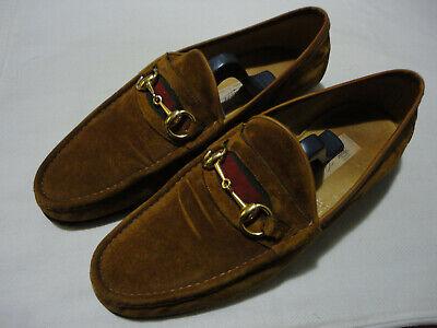 Vintage Gucci Mens Horsebit Loafers Shoes Light Brown Suede - Size EU 44