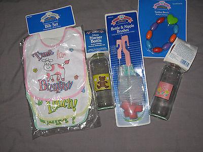 Baby Girl Glass Bottles Bibs Teether Beads Brush Teddy Bear