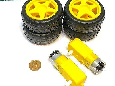4 Wheels 2 Gear Motors Yellow 3v 6v Diy Smart Car Robot 65mm C13 B11