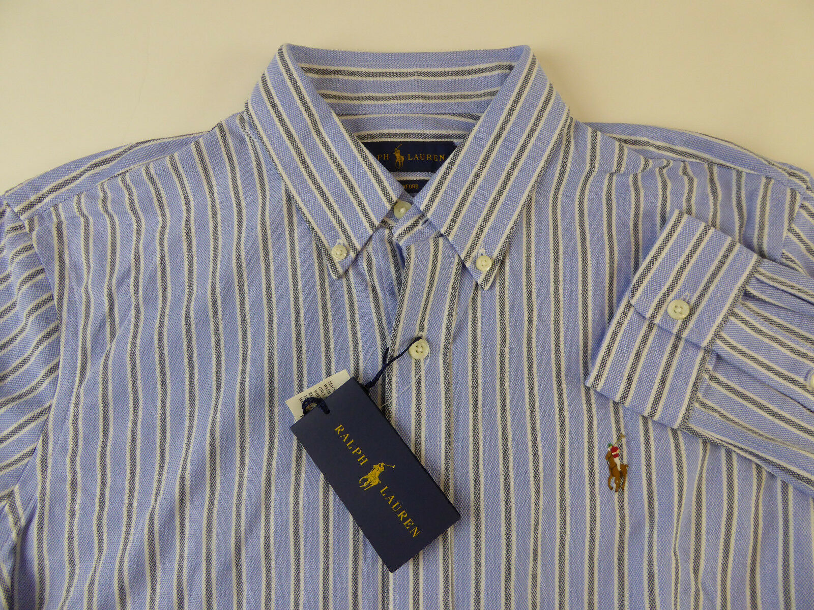 Polo Ralph Lauren Long Sleeve Striped Knit Oxford Cotton Shirt w Pony 98.50 NWT
