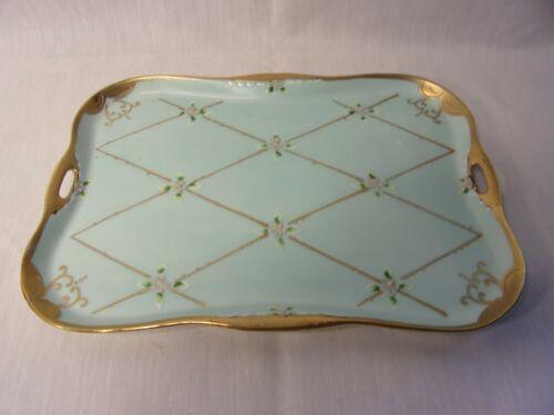 Vtg Ardalt ? Porcelain Vanity Tray Hand-painted Floral Light Mint Green Gold