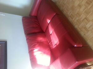 Red patent leather couch
