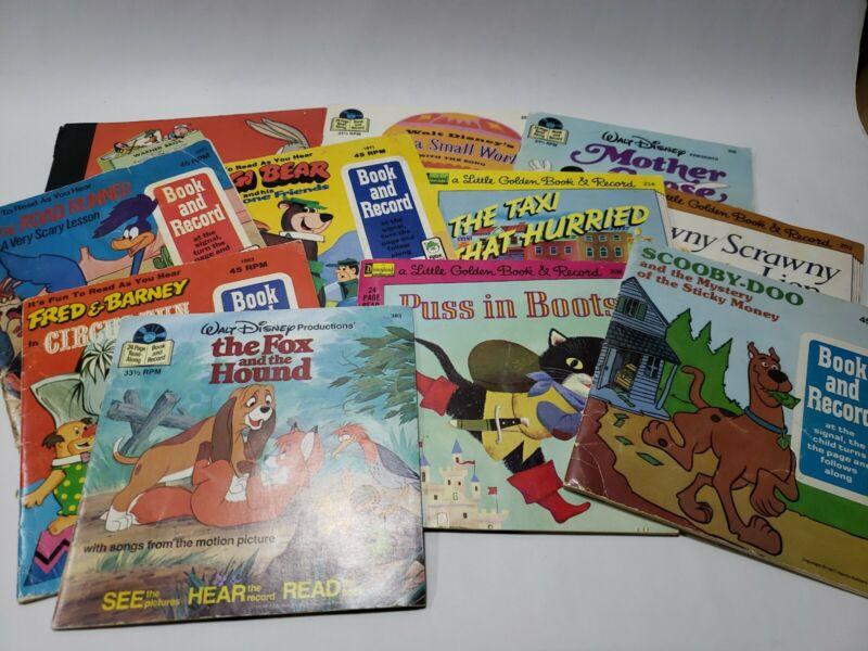 Lot 11 - Little Golden Book Disneyland 33 1/3 45 RPM Book and Record Mixed Pics