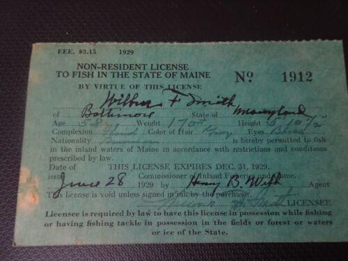1929 Maine Fishing License