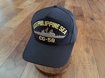 USS PHILIPPINE SEA CG-58 NAVY SHIP HAT U.S MILITARY OFFICIAL BALL CAP USA MADE