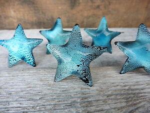 Blue Iridescent Glass STARFISH  Cabinet Drawer Pulls Handle Beach Nautical  KNOB