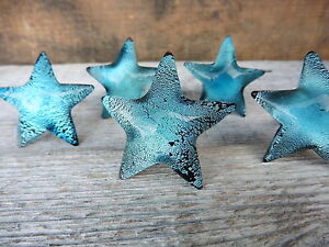 Blue Iridescent Glass STARFISH Cabinet Drawer Pulls Handle Beach Nautical  KNOB